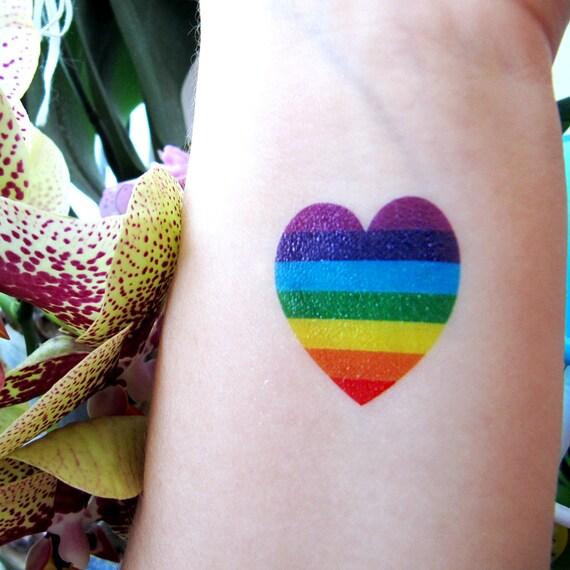 Rainbow Heart Tattoo 5 Set Jewel Flash Tattoos LGBT
