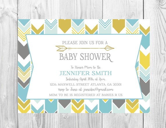 Arrow Baby Shower Invitation  >> Sprinkle Invitation >> Arrow Invite >> Herringbone Invite >> Custom Printable Digital File