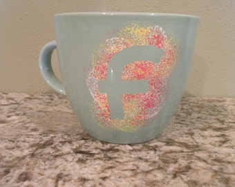 Initial Painted coffee mug