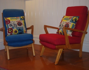 2 x Funky 1950's TV chairs - Custom upholstered
