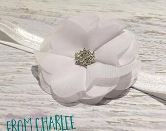 White Chiffon Petal Flower Headband - Handmade
