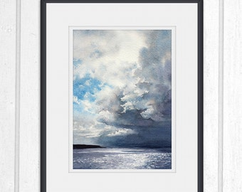 Dramatic sky, storm clouds, Scottish coast watercolour, scenery, landscape print