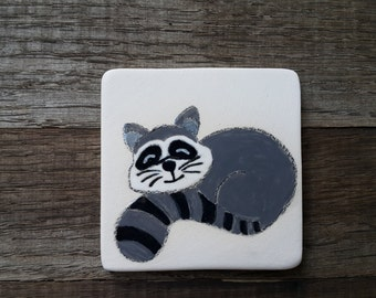 Refrigerator magnet, Ceramic tile magnet, Clay magnet, Ceramic magnet tile with cute raccoon, Ceramic raccoon magnet