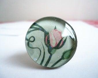 Big Glitter Rosebud Ring