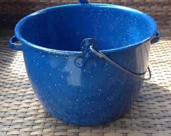 Blue White Speckled Enamel Pot