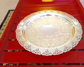"Round 12 3/4"" Silverplate Tray by Home Decorators"