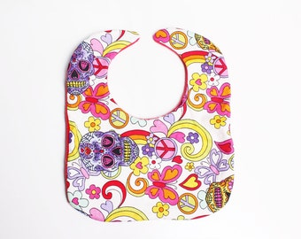 Day of the dead skull print baby bib.