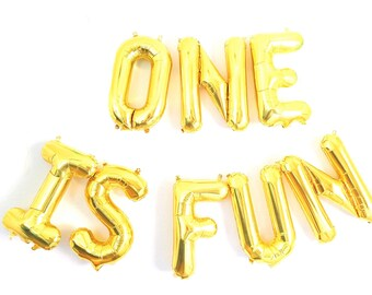 "ONE IS FUN Gold Foil Balloon Banner - Gold Foil Balloon Letters Combo (16""/41cm each balloon) - 1st Birthday Balloon"