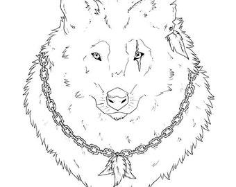 "ORIGINAL ILLUSTRATION ""Spirit Wolf"" A3 (29.7 x 42 cm ; 190 g/m2)"