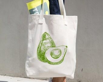 Avocado Tote Bag - Farmer's Market Bag - Market Tote - Reusable Bag - Reusable Shopping Bag - Grocery Bag - Bull Denim Tote - Sturdy Tote