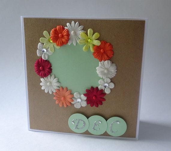 Greeting Card - Handmade December Kraft Monthly Card with Flowers