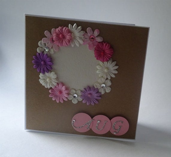 Greeting Cards - Handmade August Monthly Kraft Card with Flowers