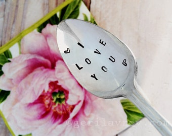 "Vintage Hand Stamped Spoon, ""I love you"", ""I love you more"""