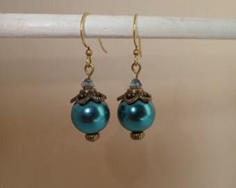 Blue Glass Pearl Beaded Dangle Earrings