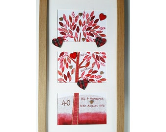 Framed Wishes Anniversary Ruby Patchwork Tree FW WE03
