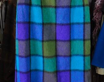 Vintage Wool Plaid Pencil Skirt