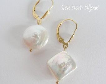 Keshi Pearl Gold Filled Dangle Earrings / freshwater pearl earrings white keshi pearl earrings gift for her birthday gift wedding
