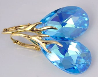 Earrings Swarovski Crystal Sterling Silver / yellow goldplated Aquamarine 22 mm