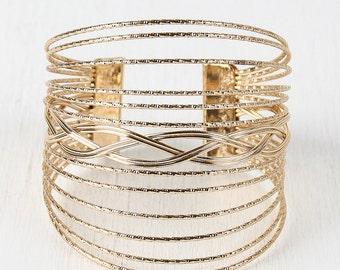 Fused Bangle Cuff Bracelet - Gold