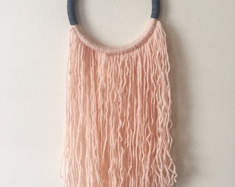 Handmade grey leather and pink wool dream catcher/wall hanging