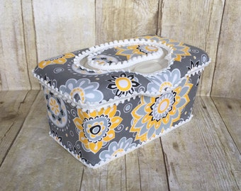 Yellow and gray baby wipe case, flip top, diaper bag, baby shower gift, wipe case, boutique style baby wipe case, hospital gift