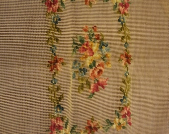 Needlepoint Canvas with Design already started 18x13