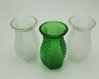 LOT Of 3 Vintage Hoosier Vases # 4071 Clear and Green