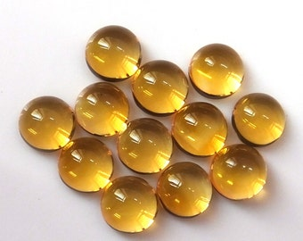 5 Pieces Lot 6mm Citrine Cabochon Round Loose Gemstone Natural Citrine Yellow Color Gemstone AAA Quality Calibrated Size Cabochon Citrine
