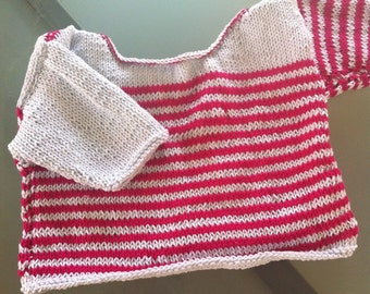 Marine sweater striped pink and sky blue