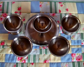 Vintage set of 5 stainless steel egg cups, 1970s egg cups