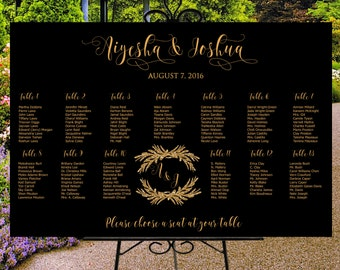 Wedding seating chart printable,  custom wedding sign, seating assignments, seating plan, table assignment, personalized guests list