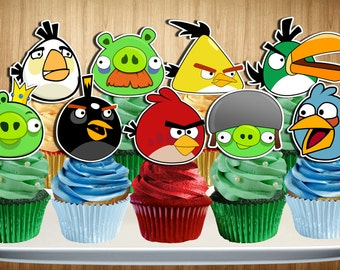 ANGRY BIRDS Cupcake Toppers, Angry Birds Cake Toppers, Angry Birds Cupcake Picks, Double-Sided, Digital File, You Print