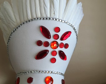 White Feathered Headpiece with Red Rhinestones