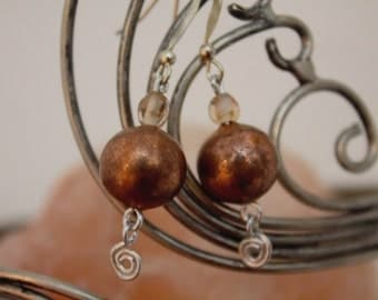 Copper and Glass Bead Dangle Earrings