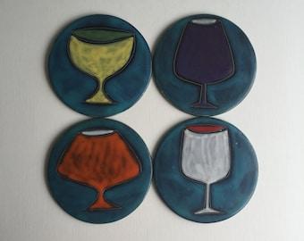 Mid century mod Bitossi Gambone Fantoni era studio pottery drink coasters made in Italy x4