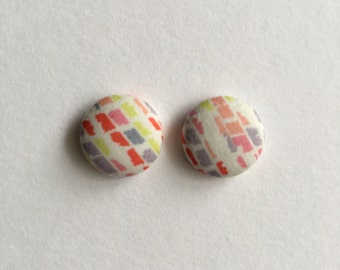 15mm Fabric Studs • Sunset Strokes • Surgical Steel • fabric stud earrings • button studs • button earrings