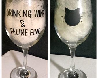 Feline Fine wine glass
