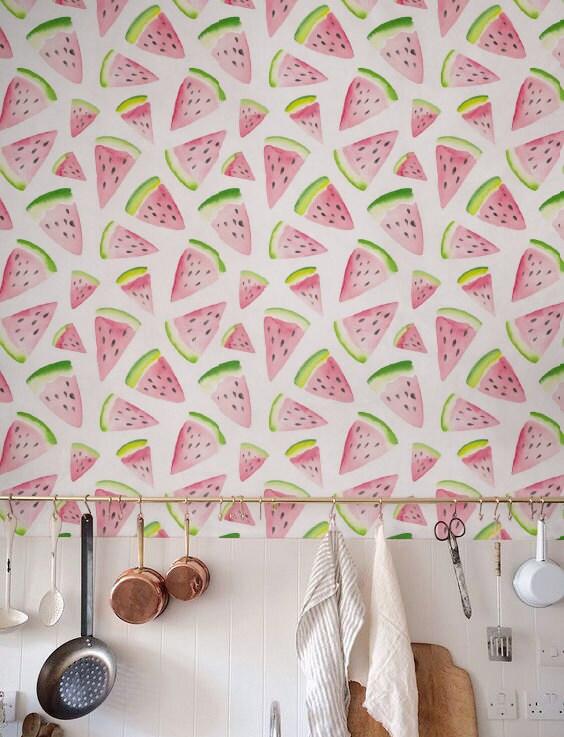Watercolor Watermelon Wallpaper Removable Wallpaper Self