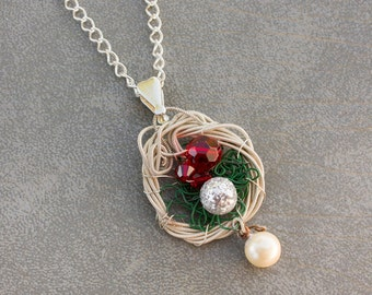 Upcycled guitar string pendant and silver chain