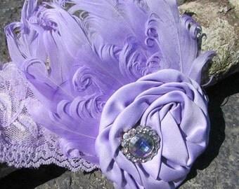 Feather baby Headband- Purple Headband-Lavender Headband-Infant Headband~ Vintage Headband~Great Gatsby~Toddler Headband~Adult Headband