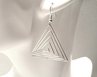 Wire Triangles Earrings -Silver Plated Earwires-