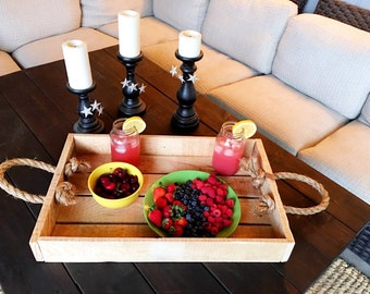 Outside Patio Tray | Pallet Wood Tray | Outdoor Serving Tray | Beverage Serving Tray