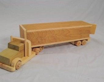 Wooden 18 Wheeler Toy Truck
