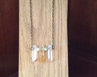 Boho chic necklace with Raw crystal Quartz, Citrine and amazonite beads