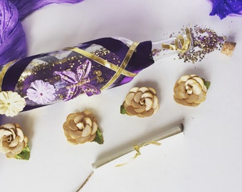 Romantic Violet Message in a Bottle Gift set