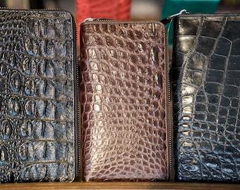 Black or Brown crocodile leather purse