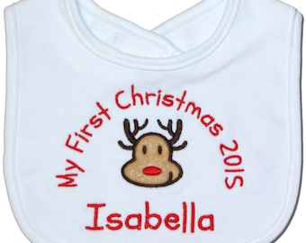 Personalised First Christmas 2016 Reindeer Baby Bib  (224) - Baby Boy - Baby Girl - New Baby - Gift - Present - Xmas