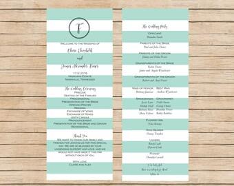 Mint Wedding Program, Printable Wedding Program, Spring Wedding Program, Mint Stripes Printable Wedding Program