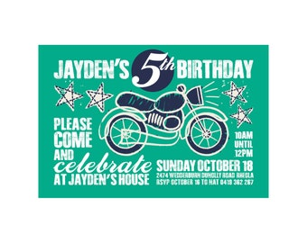 Kids Birthday MOTORBIKE Invitation PRINTABLE
