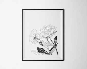 Vintage Peony Flowers Print Instant Download